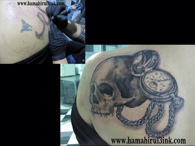 Tatuaje tapado cover up en espalda