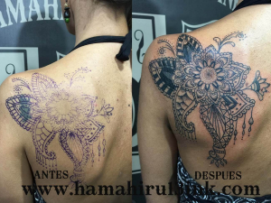 Tatuaje cover Mandala Hamahiru 13 Ink Tattoo & Piercing