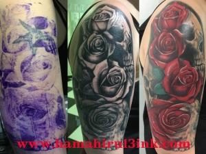 Tatuaje cover calaveras y rosas Hamahiru 13 Ink Tattoo & Piercing