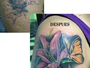 Tatuaje cover up Hamahiru 13 Ink Tattoo & Piercing