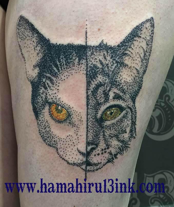 Tatuaje gatos Hamahiru 13 Ink Tattoo & Piercing