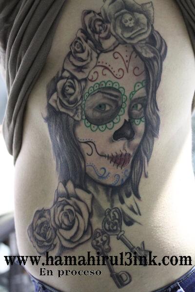 Tatuaje calavera catrina Hamahiru 13 Ink Tattoo & Piercing