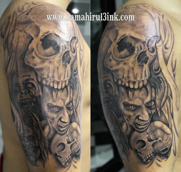Tatuaje calaveras Walking Dead Hamahiru 13 Ink Tattoo & Piercing