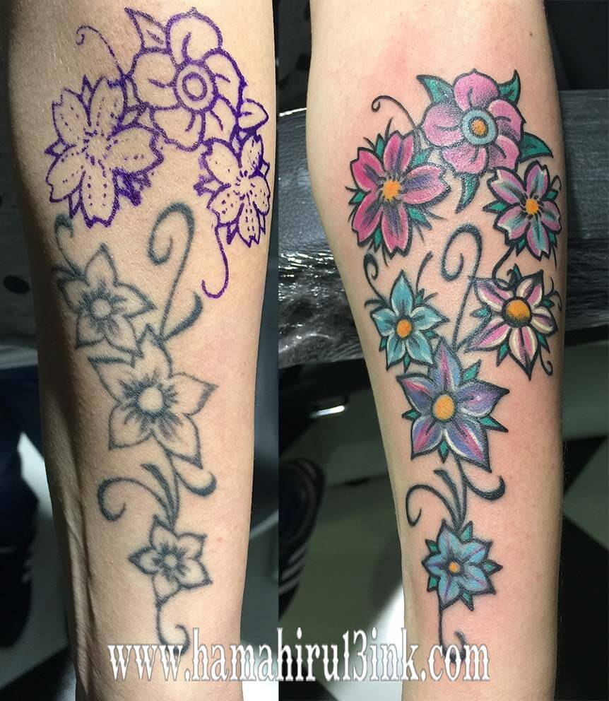 Tatuaje flores Hamahiru 13 Ink Tattoo & Piercing - Garbine