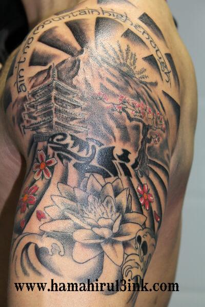 Tatuaje japonés en brazo Hamahiru 13 Ink Tattoo & Piercing