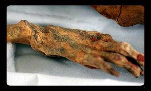 Tatuaje en mano de la momia de Amunet.